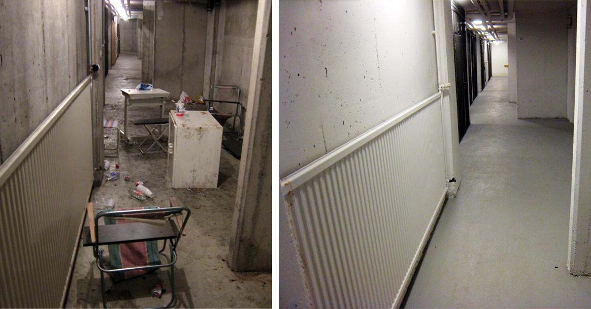 Samma källare före och efter brottsförebyggande åtgärder som omfattar bland annat att det är helt, rent och snyggt. En ljus källarmiljö med förrådsutrymmen med säkra lås dit rätt personer har tillträde.